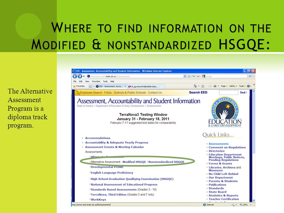 W HERE TO FIND INFORMATION ON THE M ODIFIED & NONSTANDARDIZED HSGQE: The Alternative Assessment Program is a diploma track program.