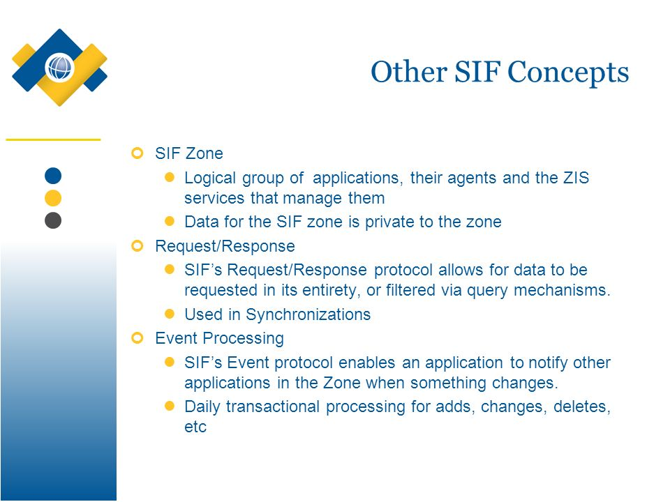 Other SIF Concepts SIF Zone Logical group of applications, their agents and the ZIS services that manage them Data for the SIF zone is private to the zone Request/Response SIFs Request/Response protocol allows for data to be requested in its entirety, or filtered via query mechanisms.