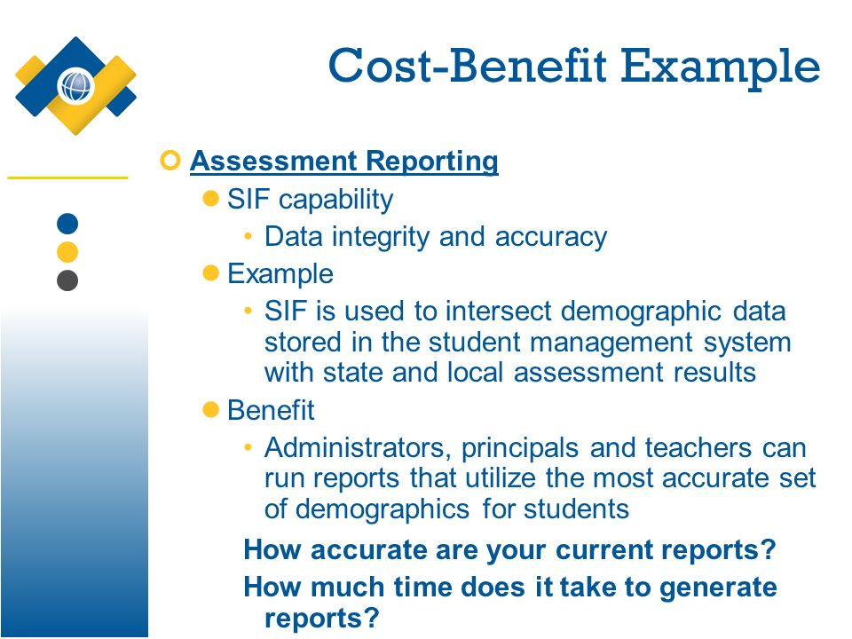 Cost-Benefit Example Assessment Reporting SIF capability Data integrity and accuracy Example SIF is used to intersect demographic data stored in the s
