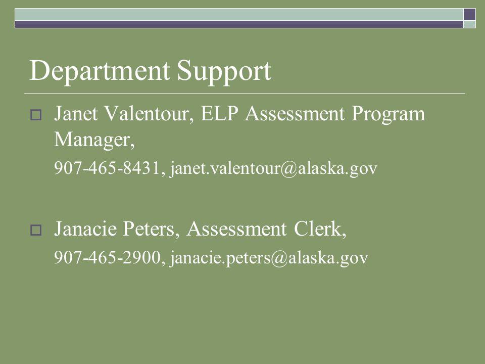 Department Support Janet Valentour, ELP Assessment Program Manager, 907-465-8431, janet.valentour@alaska.gov Janacie Peters, Assessment Clerk, 907-465