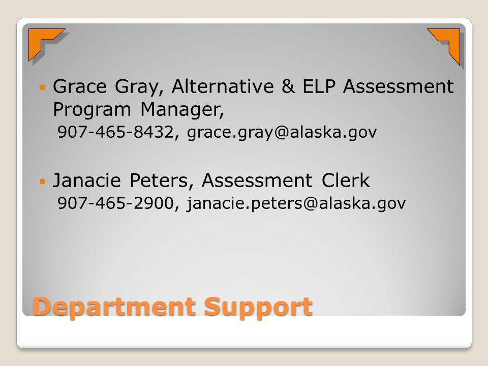 Department Support Grace Gray, Alternative & ELP Assessment Program Manager, 907-465-8432, grace.gray@alaska.gov Janacie Peters, Assessment Clerk 907-465-2900, janacie.peters@alaska.gov