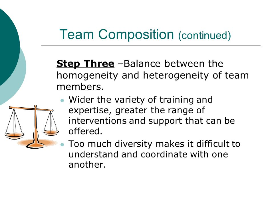 Team Composition (continued) Step Three –Balance between the homogeneity and heterogeneity of team members. Wider the variety of training and expertis