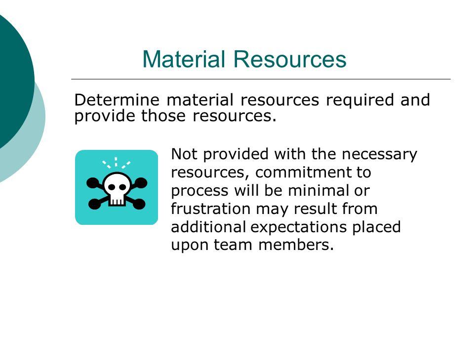 Material Resources Determine material resources required and provide those resources. Not provided with the necessary resources, commitment to process