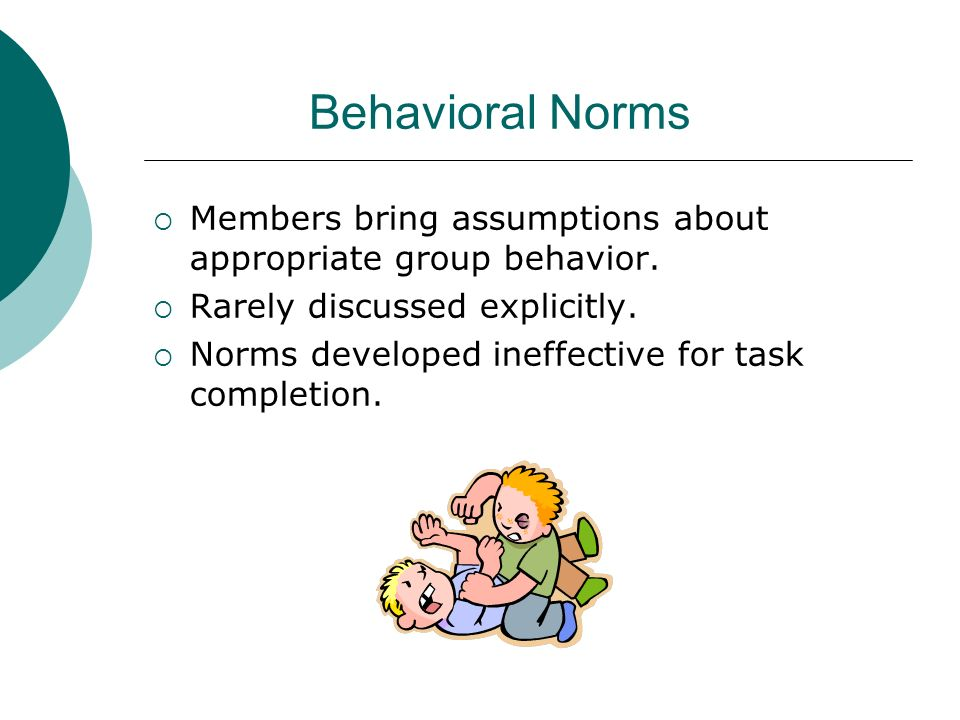 Behavioral Norms Members bring assumptions about appropriate group behavior. Rarely discussed explicitly. Norms developed ineffective for task complet