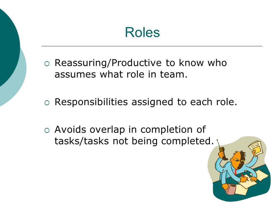 Roles Reassuring/Productive to know who assumes what role in team. Responsibilities assigned to each role. Avoids overlap in completion of tasks/tasks