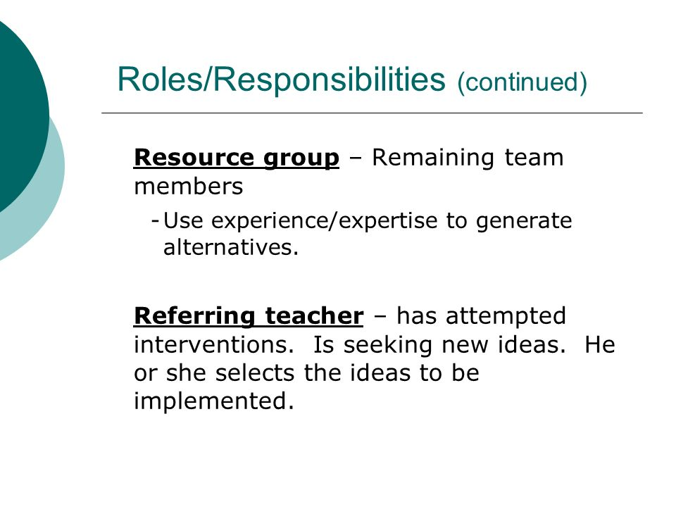 Roles/Responsibilities (continued) Resource group – Remaining team members -Use experience/expertise to generate alternatives. Referring teacher – has