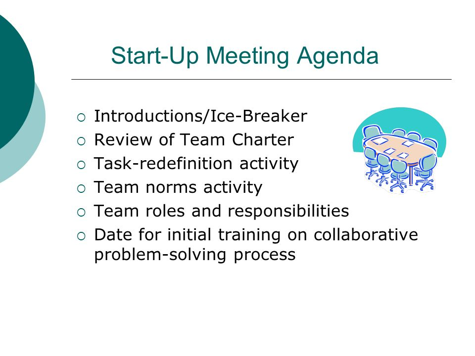 Start-Up Meeting Agenda Introductions/Ice-Breaker Review of Team Charter Task-redefinition activity Team norms activity Team roles and responsibilitie