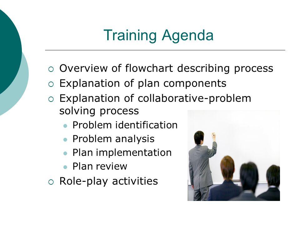 Training Agenda Overview of flowchart describing process Explanation of plan components Explanation of collaborative-problem solving process Problem i