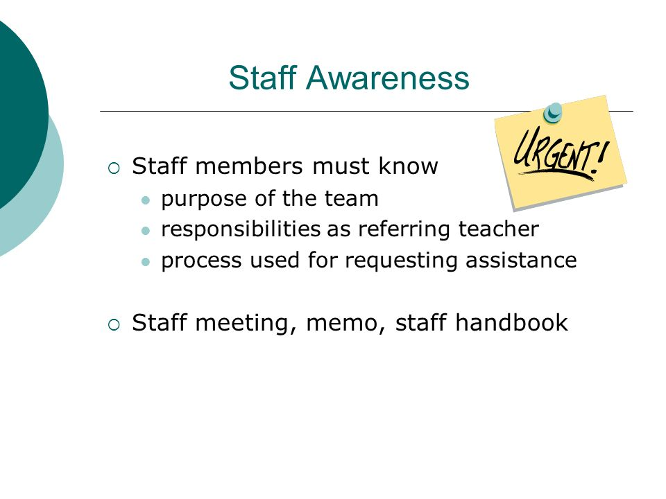 Staff Awareness Staff members must know purpose of the team responsibilities as referring teacher process used for requesting assistance Staff meeting
