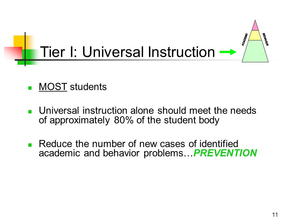 11 Tier I: Universal Instruction MOST students Universal instruction alone should meet the needs of approximately 80% of the student body Reduce the number of new cases of identified academic and behavior problems…PREVENTION