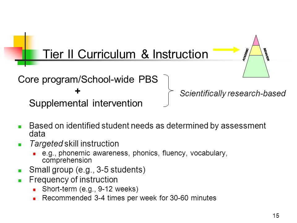 15 Core program/School-wide PBS + Supplemental intervention Based on identified student needs as determined by assessment data Targeted skill instruction e.g., phonemic awareness, phonics, fluency, vocabulary, comprehension Small group (e.g., 3-5 students) Frequency of instruction Short-term (e.g., 9-12 weeks) Recommended 3-4 times per week for 30-60 minutes Scientifically research-based Tier II Curriculum & Instruction