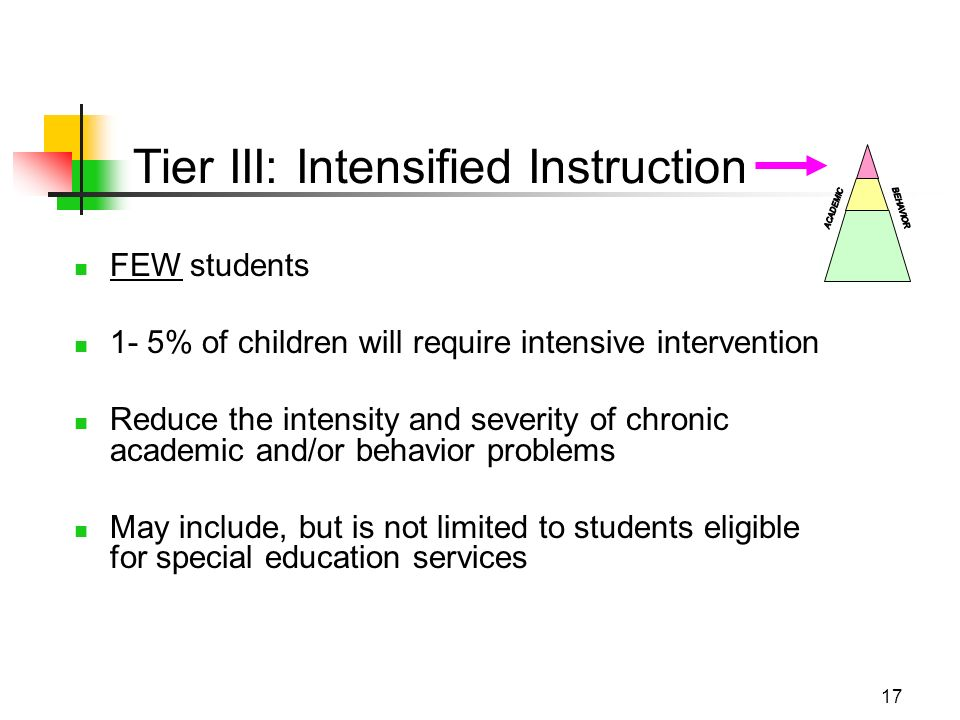 17 FEW students 1- 5% of children will require intensive intervention Reduce the intensity and severity of chronic academic and/or behavior problems May include, but is not limited to students eligible for special education services Tier III: Intensified Instruction