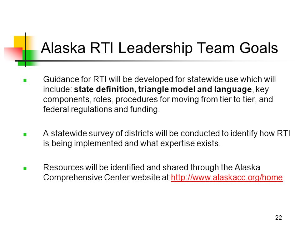 22 Alaska RTI Leadership Team Goals Guidance for RTI will be developed for statewide use which will include: state definition, triangle model and language, key components, roles, procedures for moving from tier to tier, and federal regulations and funding.