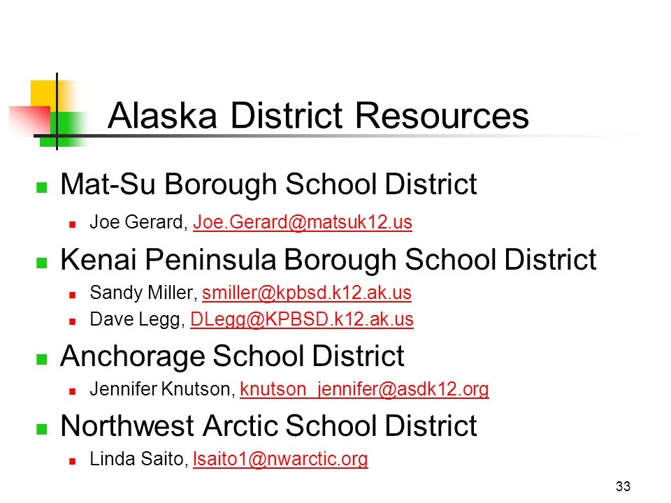33 Alaska District Resources Mat-Su Borough School District Joe Gerard, Joe.Gerard@matsuk12.usJoe.Gerard@matsuk12.us Kenai Peninsula Borough School District Sandy Miller, smiller@kpbsd.k12.ak.us Dave Legg, DLegg@KPBSD.k12.ak.usDLegg@KPBSD.k12.ak.us Anchorage School District Jennifer Knutson, knutson_jennifer@asdk12.orgknutson_jennifer@asdk12.org Northwest Arctic School District Linda Saito, lsaito1@nwarctic.orglsaito1@nwarctic.org