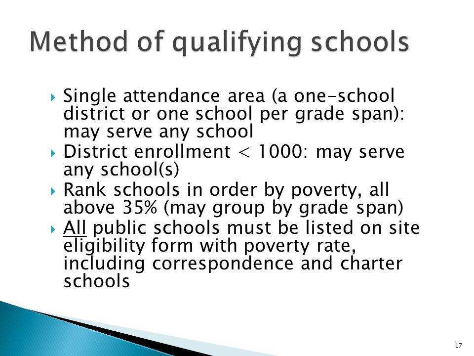 Single attendance area (a one-school district or one school per grade span): may serve any school District enrollment < 1000: may serve any school(s) Rank schools in order by poverty, all above 35% (may group by grade span) All public schools must be listed on site eligibility form with poverty rate, including correspondence and charter schools 17