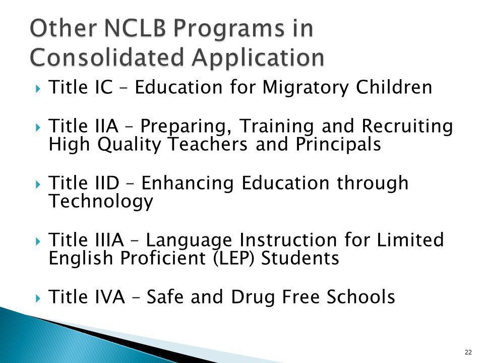 Title IC – Education for Migratory Children Title IIA – Preparing, Training and Recruiting High Quality Teachers and Principals Title IID – Enhancing Education through Technology Title IIIA – Language Instruction for Limited English Proficient (LEP) Students Title IVA – Safe and Drug Free Schools 22