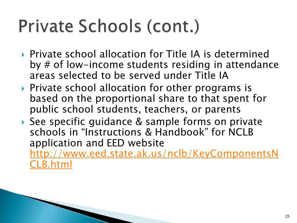 Private school allocation for Title IA is determined by # of low-income students residing in attendance areas selected to be served under Title IA Private school allocation for other programs is based on the proportional share to that spent for public school students, teachers, or parents See specific guidance & sample forms on private schools in Instructions & Handbook for NCLB application and EED website http://www.eed.state.ak.us/nclb/KeyComponentsN CLB.html http://www.eed.state.ak.us/nclb/KeyComponentsN CLB.html 25