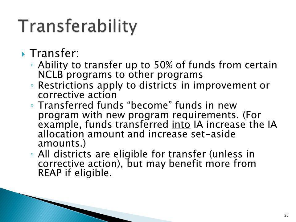 Transfer: Ability to transfer up to 50% of funds from certain NCLB programs to other programs Restrictions apply to districts in improvement or corrective action Transferred funds become funds in new program with new program requirements.
