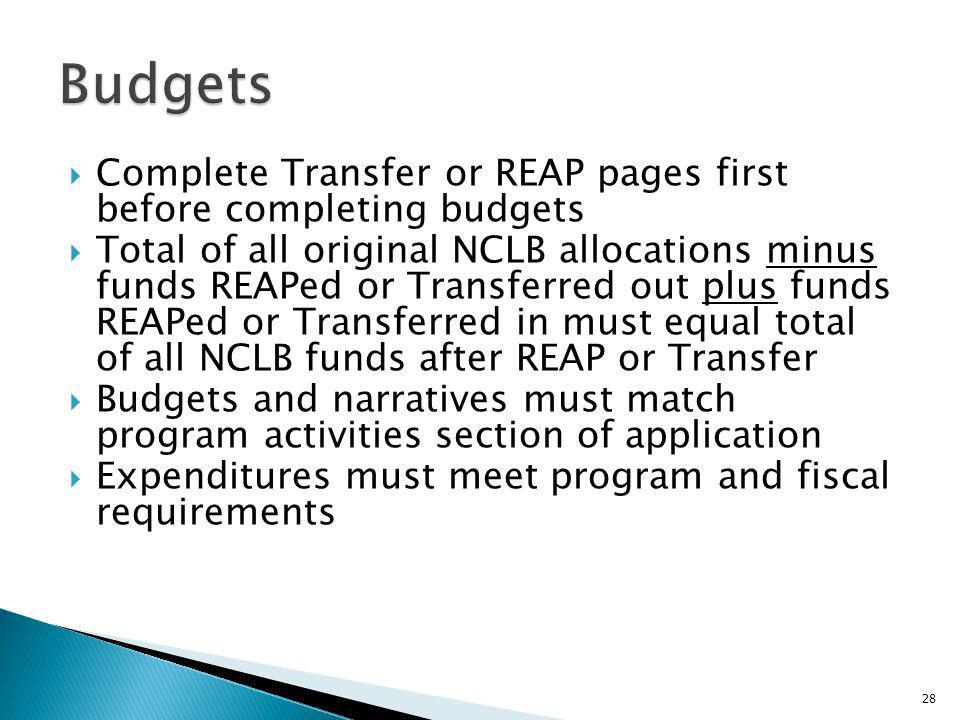 Complete Transfer or REAP pages first before completing budgets Total of all original NCLB allocations minus funds REAPed or Transferred out plus funds REAPed or Transferred in must equal total of all NCLB funds after REAP or Transfer Budgets and narratives must match program activities section of application Expenditures must meet program and fiscal requirements 28