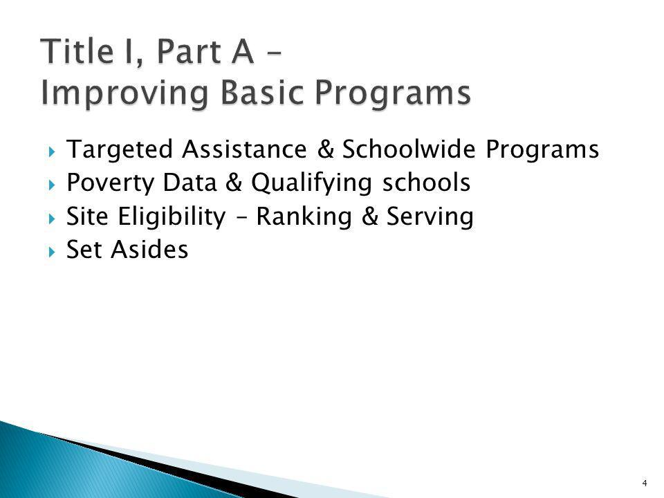 Purpose – to increase the achievement of all students, particularly those who are disadvantaged Two types of Title I programs: Targeted Assistance Schoolwide 5
