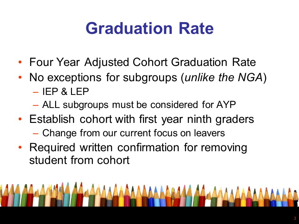 3 Graduation Rate Four Year Adjusted Cohort Graduation Rate No exceptions for subgroups (unlike the NGA) –IEP & LEP –ALL subgroups must be considered