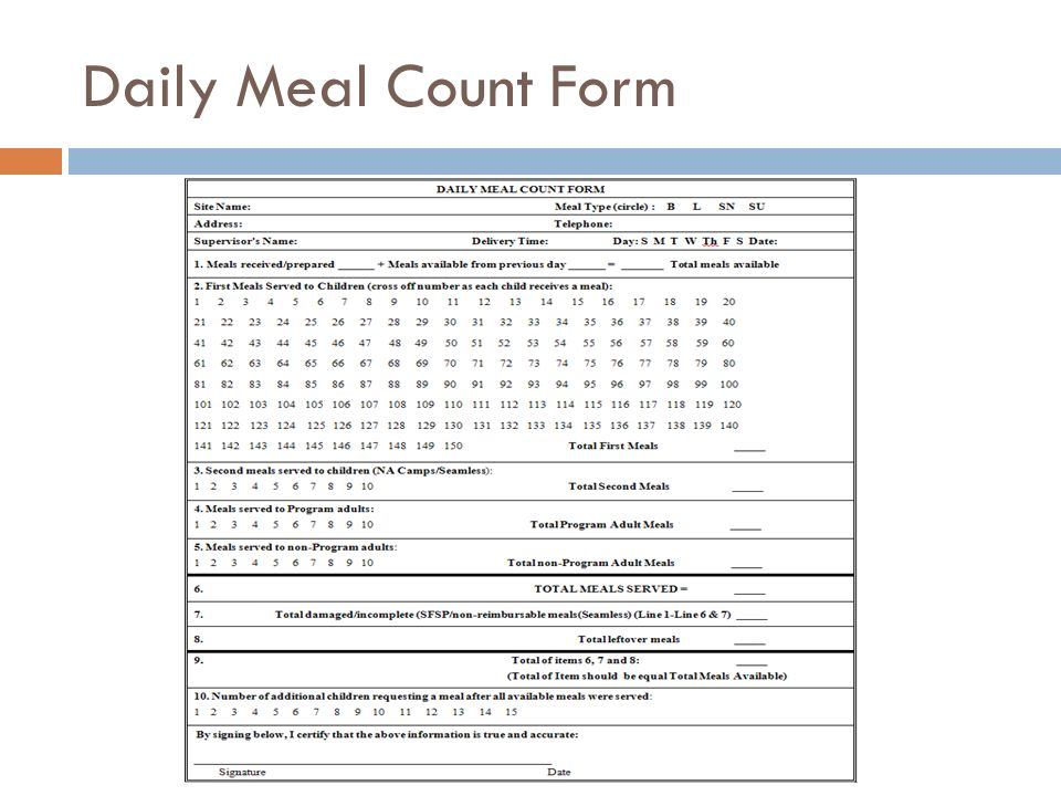 Daily Meal Count Form