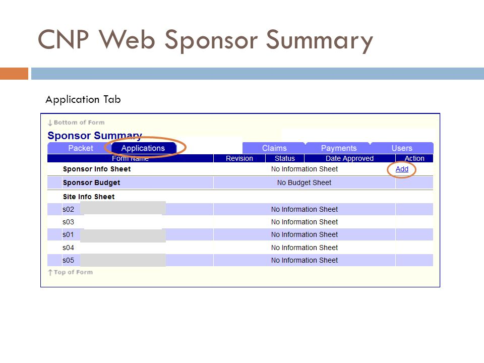 CNP Web Sponsor Summary Application Tab