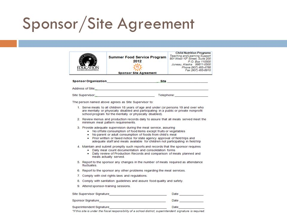 Sponsor/Site Agreement