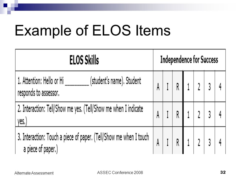 ASSEC Conference 200832 Alternate Assessment Example of ELOS Items
