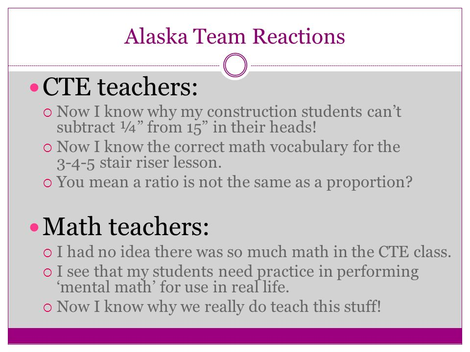 Alaska Team Reactions CTE teachers: Now I know why my construction students cant subtract ¼ from 15 in their heads.