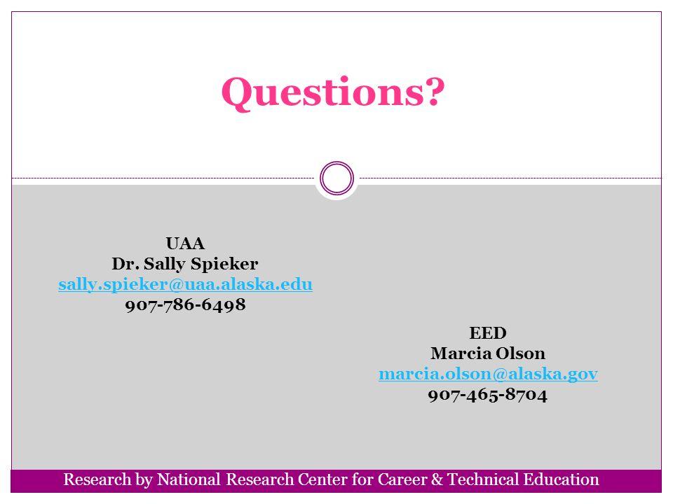 Questions? UAA Dr. Sally Spieker sally.spieker@uaa.alaska.edu 907-786-6498 EED Marcia Olson marcia.olson@alaska.gov 907-465-8704 Research by National