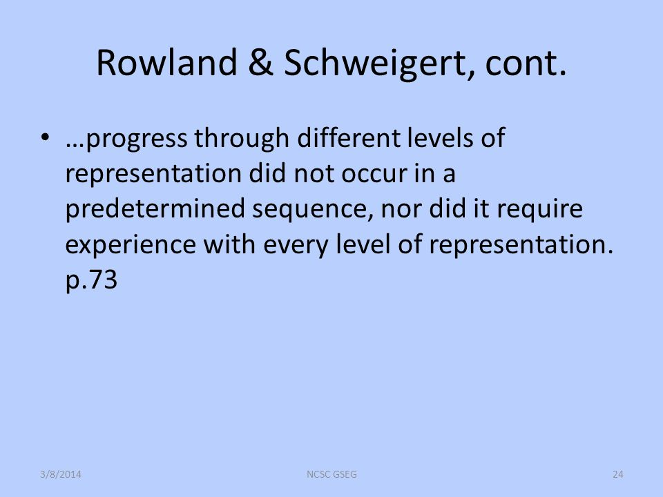 Rowland & Schweigert, cont. …progress through different levels of representation did not occur in a predetermined sequence, nor did it require experie