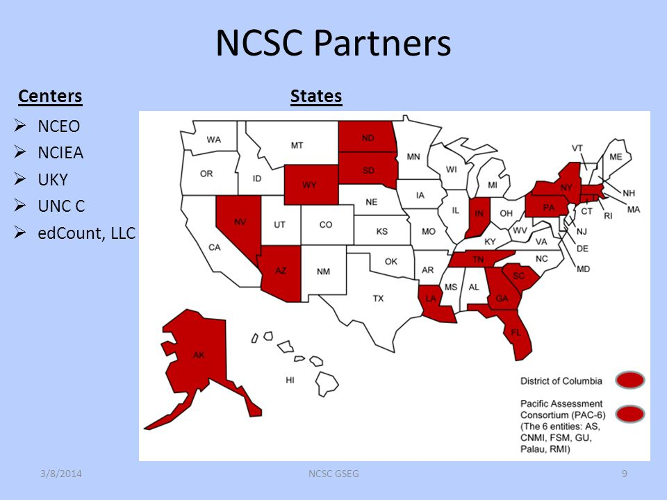 NCSC Partners Centers NCEO NCIEA UKY UNC C edCount, LLC States 3/8/2014NCSC GSEG9