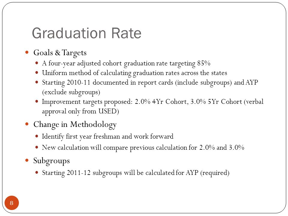 Graduation Rate Goals & Targets A four-year adjusted cohort graduation rate targeting 85% Uniform method of calculating graduation rates across the states Starting documented in report cards (include subgroups) and AYP (exclude subgroups) Improvement targets proposed: 2.0% 4 Yr Cohort, 3.0% 5 Yr Cohort (verbal approval only from USED) Change in Methodology Identify first year freshman and work forward New calculation will compare previous calculation for 2.0% and 3.0% Subgroups Starting subgroups will be calculated for AYP (required) 8