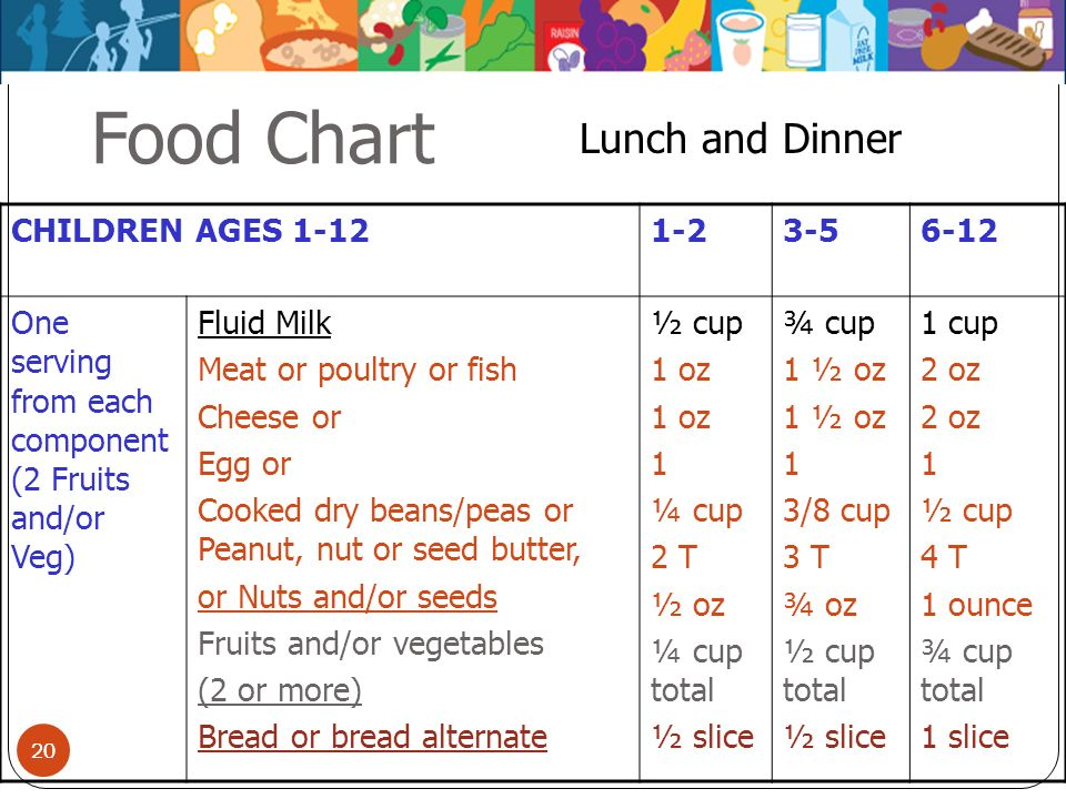 20 Food Chart CHILDREN AGES 1-121-23-56-12 One serving from each component (2 Fruits and/or Veg) Fluid Milk Meat or poultry or fish Cheese or Egg or C