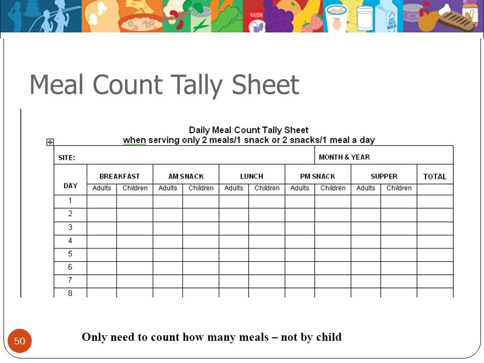 50 Meal Count Tally Sheet Only need to count how many meals – not by child