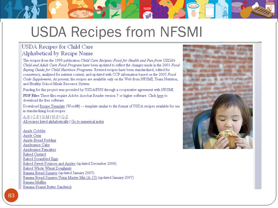 83 USDA Recipes from NFSMI
