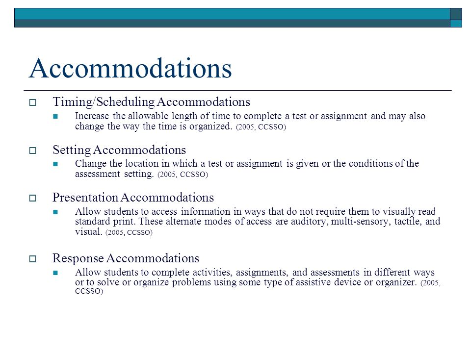 Table 1: LEP Accommodation Accommodations are allowed for LEP students when testing for academic content knowledge and skills, but not when testing for English language proficiency.