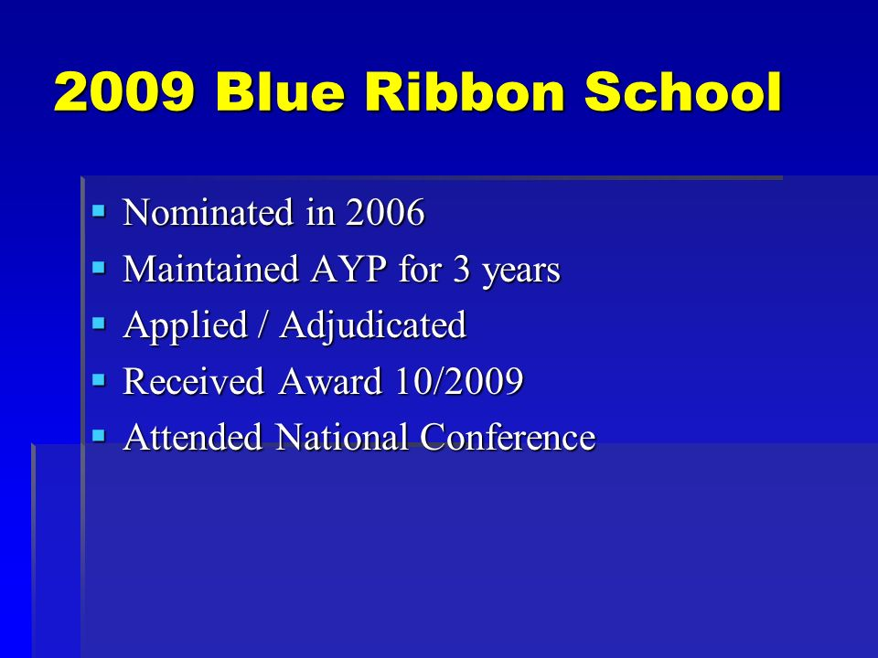 2009 Blue Ribbon School Nominated in 2006 Nominated in 2006 Maintained AYP for 3 years Maintained AYP for 3 years Applied / Adjudicated Applied / Adjudicated Received Award 10/2009 Received Award 10/2009 Attended National Conference Attended National Conference