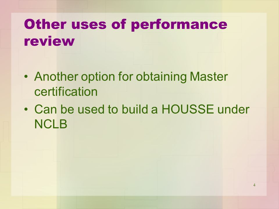 5 What does the performance review include.