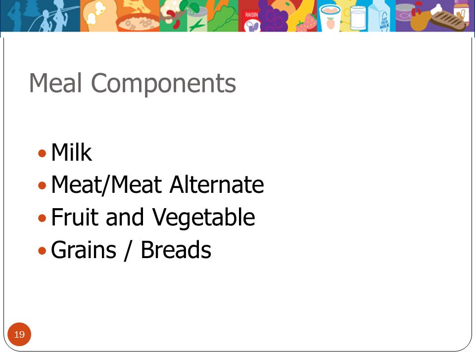 19 Meal Components Milk Meat/Meat Alternate Fruit and Vegetable Grains / Breads