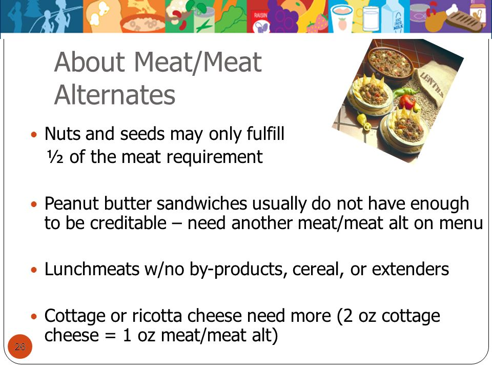 26 About Meat/Meat Alternates 26 Nuts and seeds may only fulfill ½ of the meat requirement Peanut butter sandwiches usually do not have enough to be c