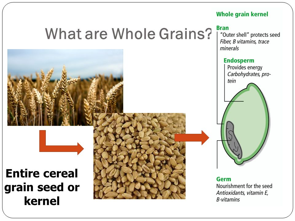 What are Whole Grains? Entire cereal grain seed or kernel