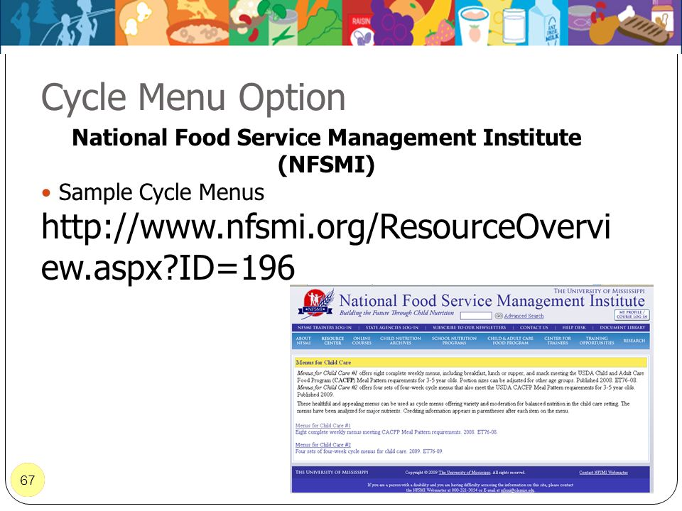 67 Cycle Menu Option 67 National Food Service Management Institute (NFSMI) Sample Cycle Menus http://www.nfsmi.org/ResourceOvervi ew.aspx?ID=196