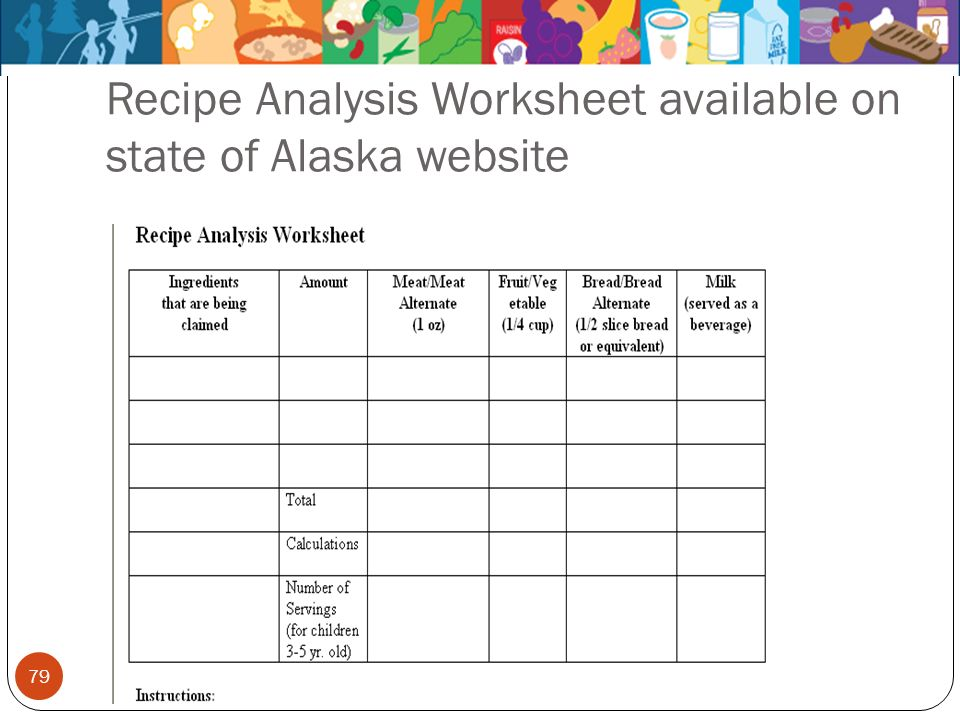 79 Recipe Analysis Worksheet available on state of Alaska website