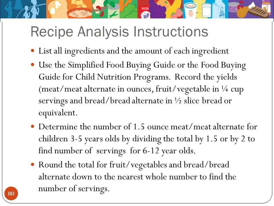 80 Recipe Analysis Instructions 80 List all ingredients and the amount of each ingredient Use the Simplified Food Buying Guide or the Food Buying Guid