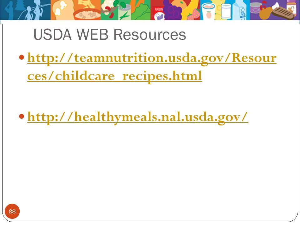 88 USDA WEB Resources 88 http://teamnutrition.usda.gov/Resour ces/childcare_recipes.html http://teamnutrition.usda.gov/Resour ces/childcare_recipes.ht