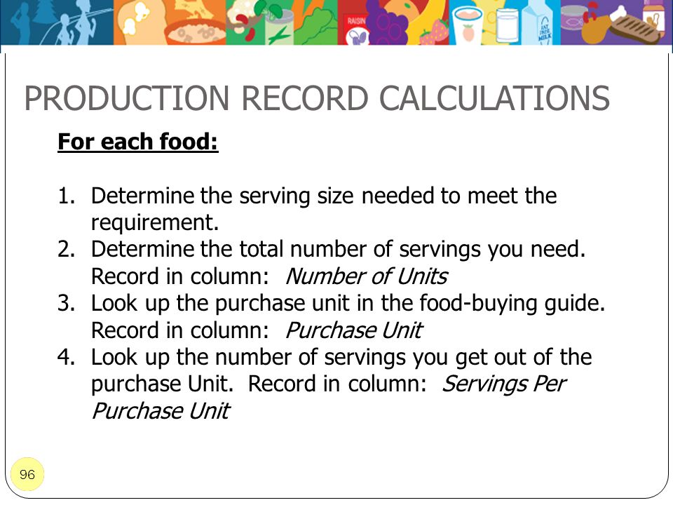 96 PRODUCTION RECORD CALCULATIONS 96 For each food: 1.Determine the serving size needed to meet the requirement. 2.Determine the total number of servi