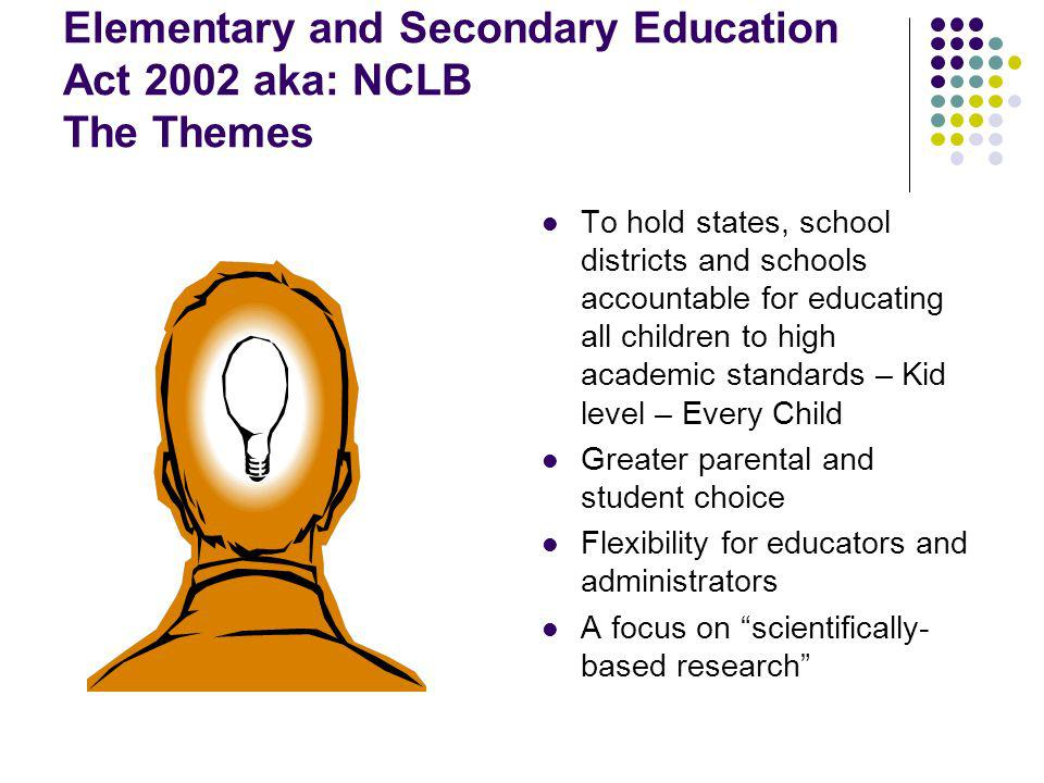 Elementary and Secondary Education Act 2002 aka: NCLB The Themes To hold states, school districts and schools accountable for educating all children to high academic standards – Kid level – Every Child Greater parental and student choice Flexibility for educators and administrators A focus on scientifically- based research