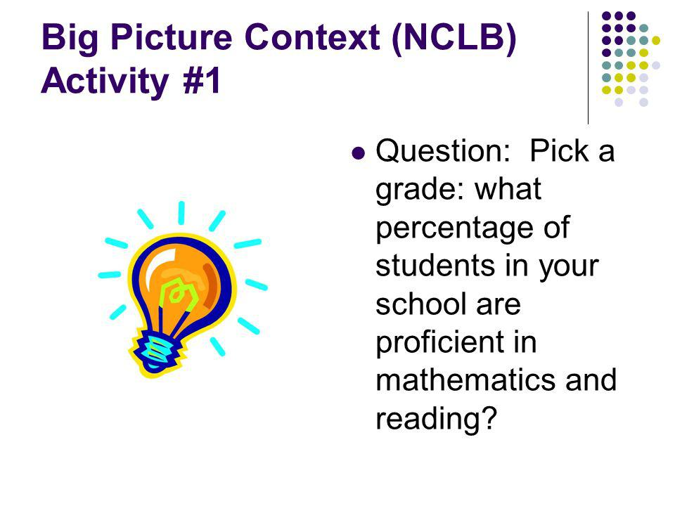 Big Picture Context (NCLB) Activity #1 Question: Pick a grade: what percentage of students in your school are proficient in mathematics and reading?